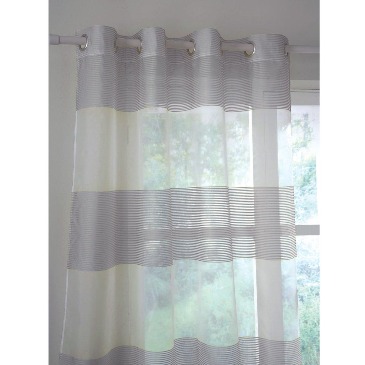 Занавеска в широкую полоску, с люверсами, LindaЭта занавеска из ткани деворе очень высокого качества придаст легкости вашему интерьеру. Широкие полоски утонченных цветов на прозрачном фоне.Занавеска из ткани деворе, 100% полиэстер. Подшитый низ. С люверсами. Стирка при 30°.Имеются следующие размеры :- В 250 x Д 140 см                     - В 180 х Д 140  и разные цвета:                         - Зеленый                       - Розовая фуксия                       - Серый, белый                       - Темно-коричневый<br><br>Цвет: белый,серый,темный серо-каштановый<br>Размер: 250 x 140  см