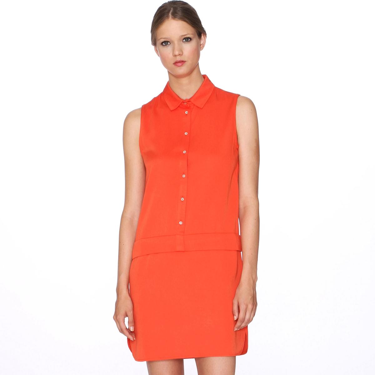 Платье без рукавов PEPALOVES, Dress AmaiaПлатье без рукавов Dress Amaia от PEPALOVES . Рубашечный воротник. Застежка на пуговицы до пояса . Низ с закругленным вырезом .Состав и описание :Материал : 100% вискозыМарка : PEPALOVES<br><br>Цвет: красный<br>Размер: L