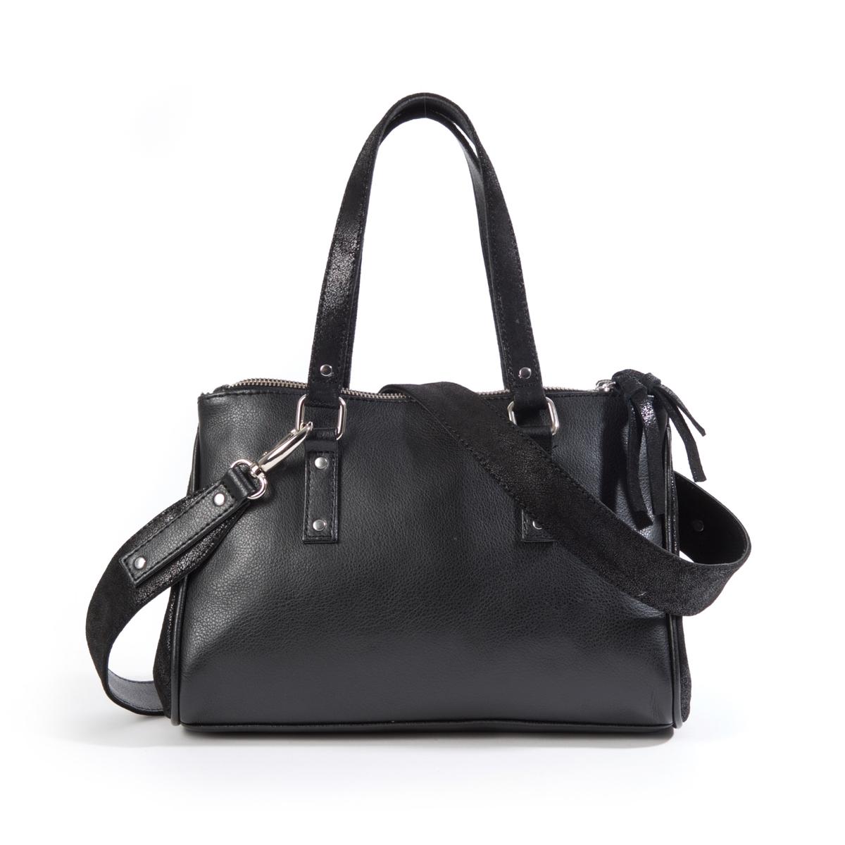 Сумка-шопперПрактичная сумка-шоппер с металлическими люверсами в стиле рок очень вместительна. Состав и описание : Материал : верх из синтетики             подкладка из текстиляРазмеры : 40 x 26 x 10 смЗастежка : молния1 карман на молнии и 2 кармана для мобильного телефона<br><br>Цвет: черный