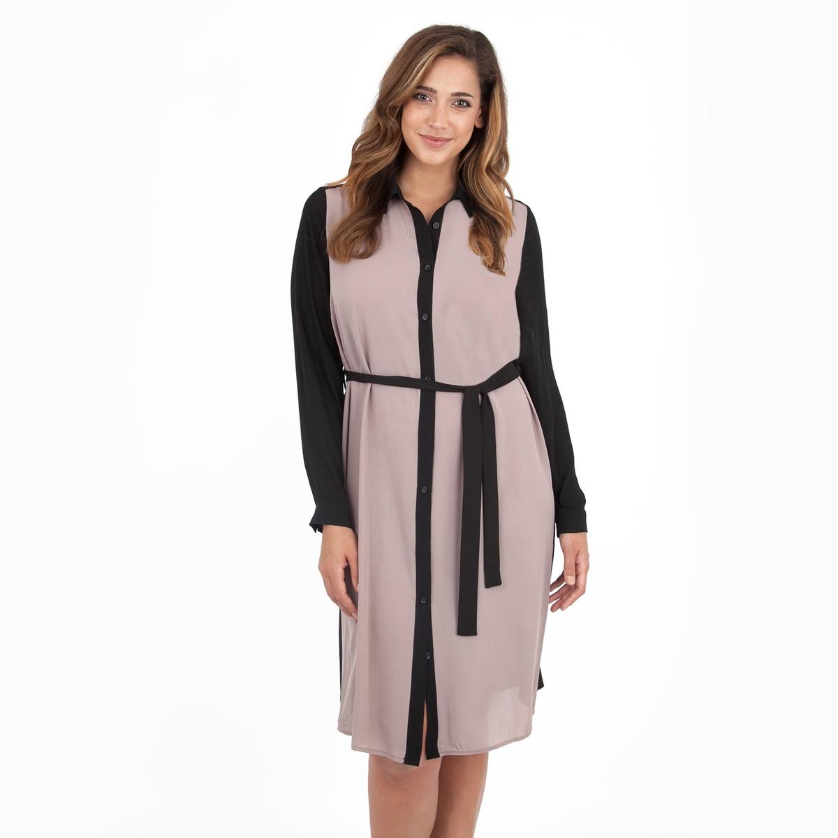 Платье-рубашкаПлатье с длинными рукаавами - LOVEDROBE. Красивое платье-рубашка с ремнем на поясе. Длина ок.104 см. 100% полиэстера.<br><br>Цвет: бежевый/ черный