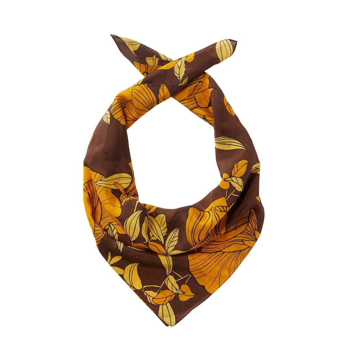 Petit foulard en soie avec fleurs imprimées