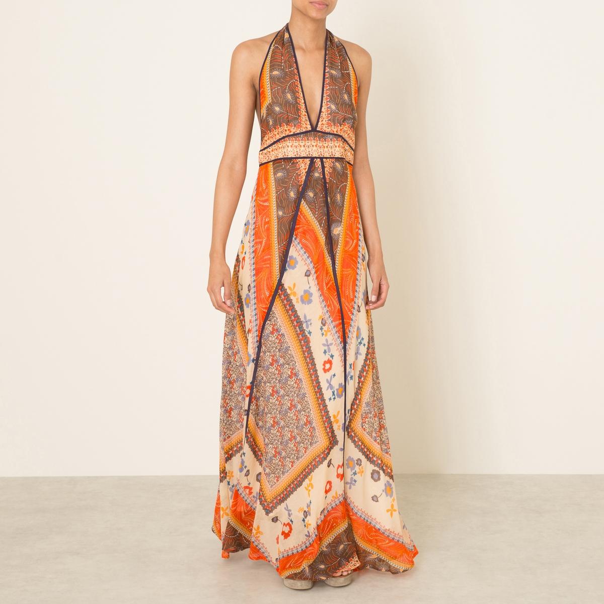 Платье длинная с открытой спиной ROMANEСостав и описание   Материал : 1000% хлопок Подкладка : 100% хлопок   Длина : ок. 160 см (Размер 1)   Марка : BA&amp;SH<br><br>Цвет: оранжевый