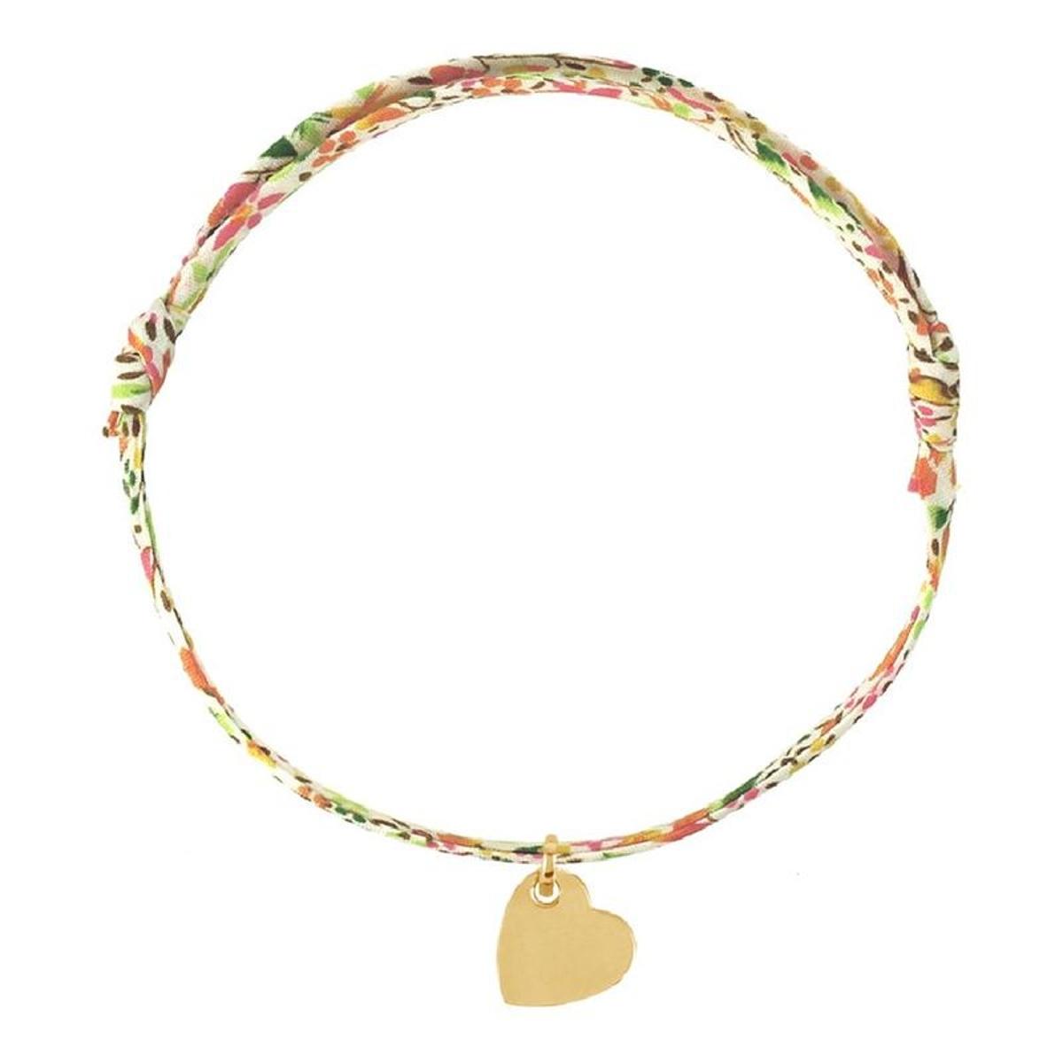 Bracelet Cordon Fleurs Liberty Imprimé Rose Vert Bleu Longueur réglable Coeur Penché Plaqué Or