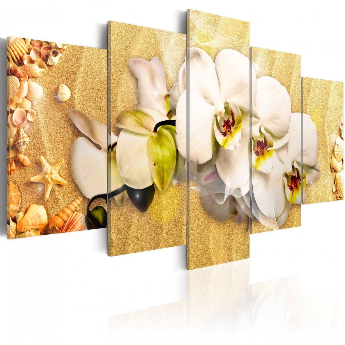 Tableau - 5 tableaux - Plage et orchidée