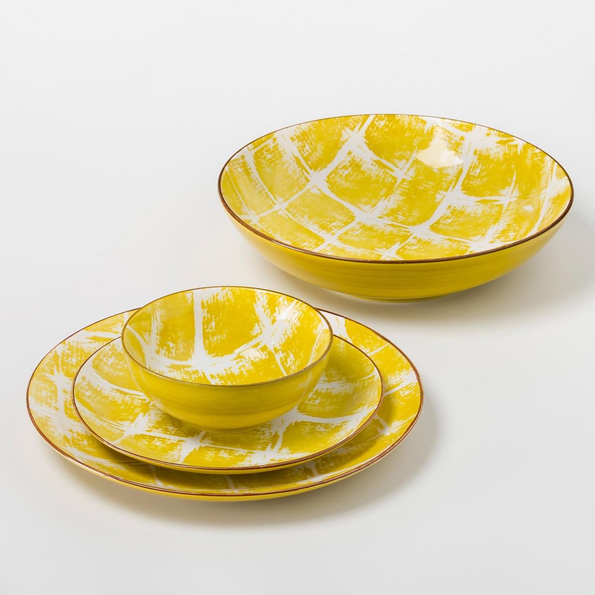 Салатница из керамики, MaladoСалатница Malado. Рисунок икат. глазурованная керамика. Размеры  : ?26 x В.7 см. Подходит для посудомоечной машины и микроволновой печи. Чашка, плоская и десертная тарелки продаются на нашем сайте .<br><br>Цвет: горчичный