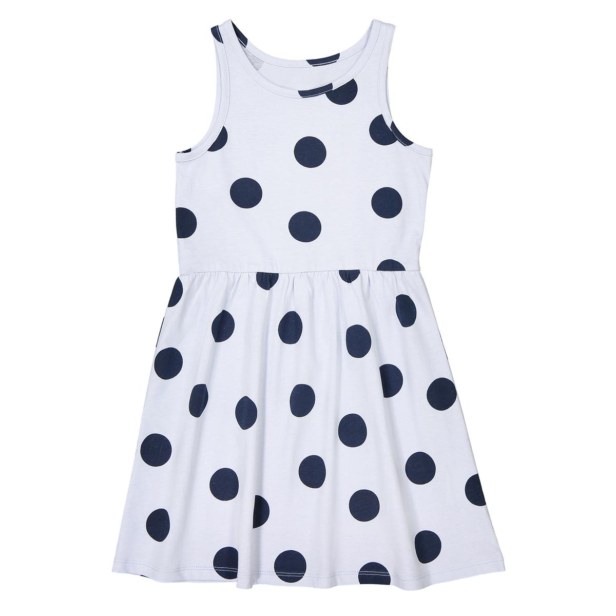 Платье без рукавов в горошек 3-12 лет