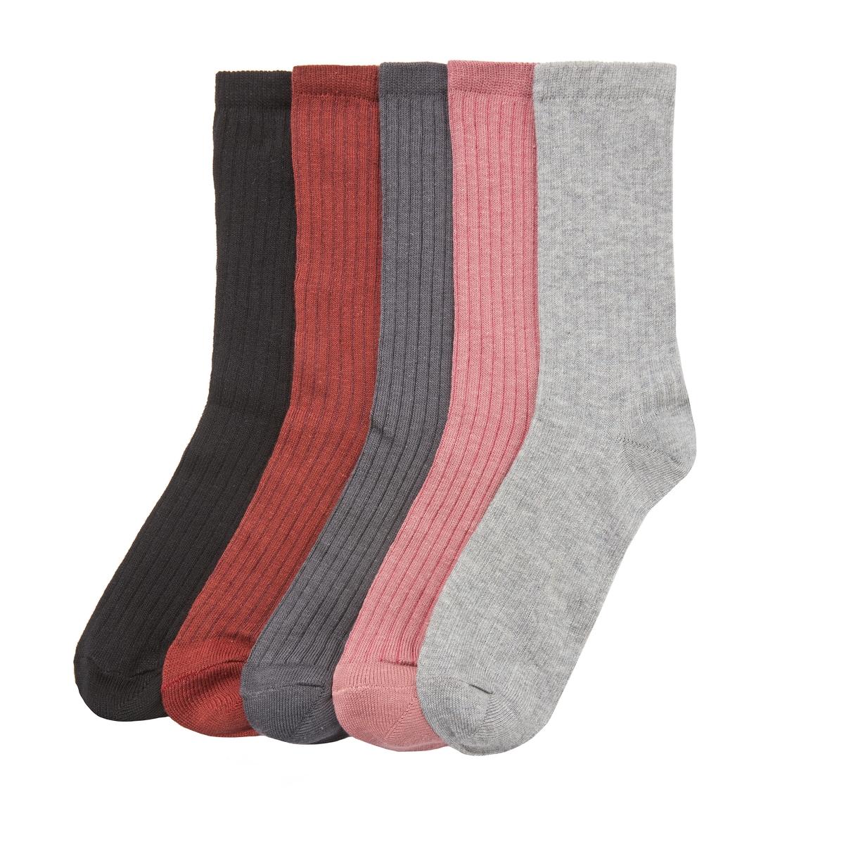 Комплект из пар носков La Redoute В рубчик - 23/26 серый комплект из пар носков la redoute размеры 23 26 черный