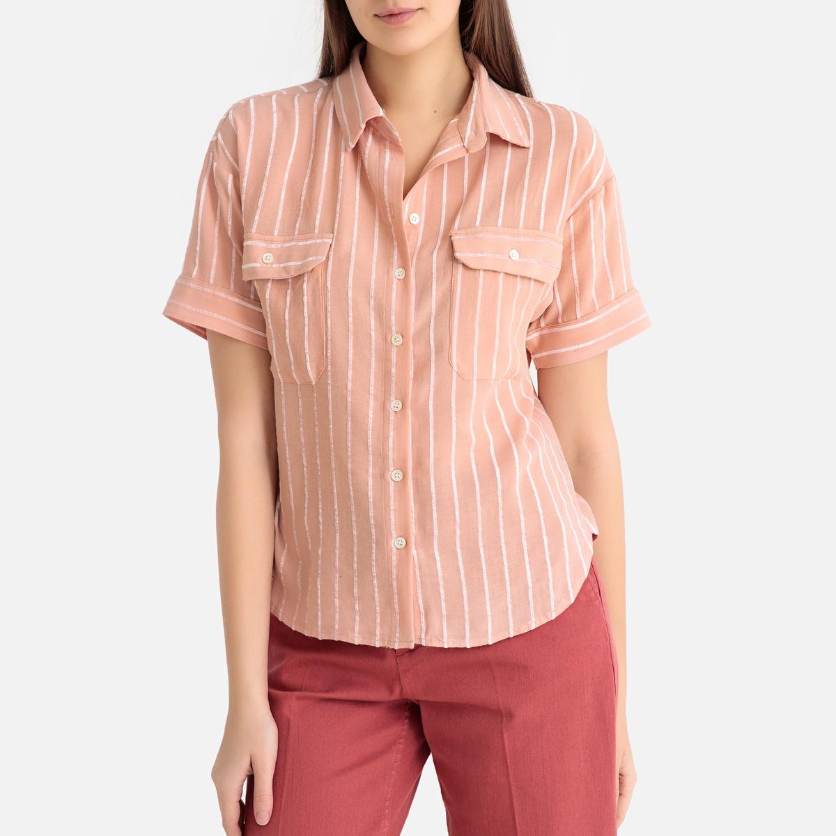 Рубашка La Redoute В полоску с короткими рукавами M/L розовый цена 2017