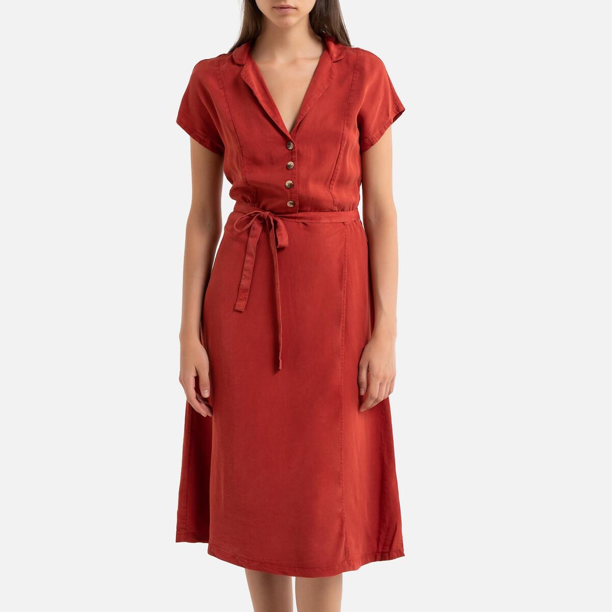 Платье-рубашка La Redoute С короткими рукавами ROBERTA XS оранжевый цена 2017