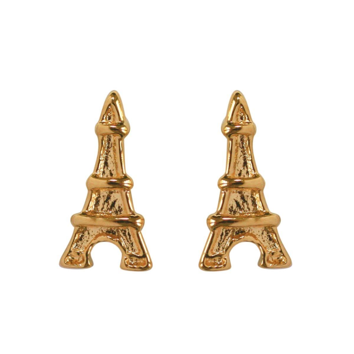 Boucles d'oreilles Tour Eiffel Paris France Plaqué Or 750