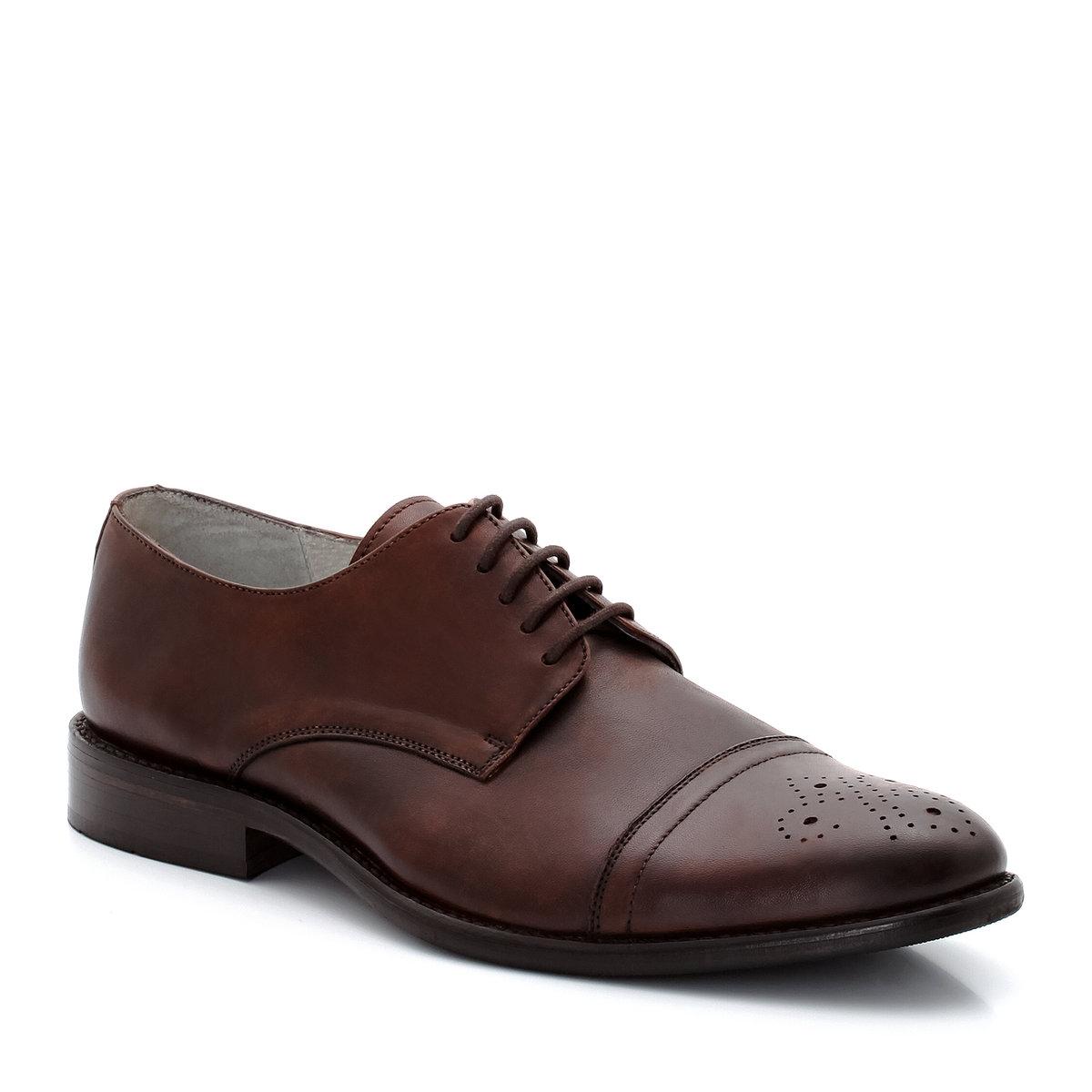 Ботинки-дерби кожаныеКожаные ботинки-дерби, размеры 43-50 по одной цене!Верх: гладкая яловичная кожа с перфорацией. Подкладка: кожаСтелька: кожа. Подошва: пластичный нескользящий эластомер.<br><br>Цвет: каштановый