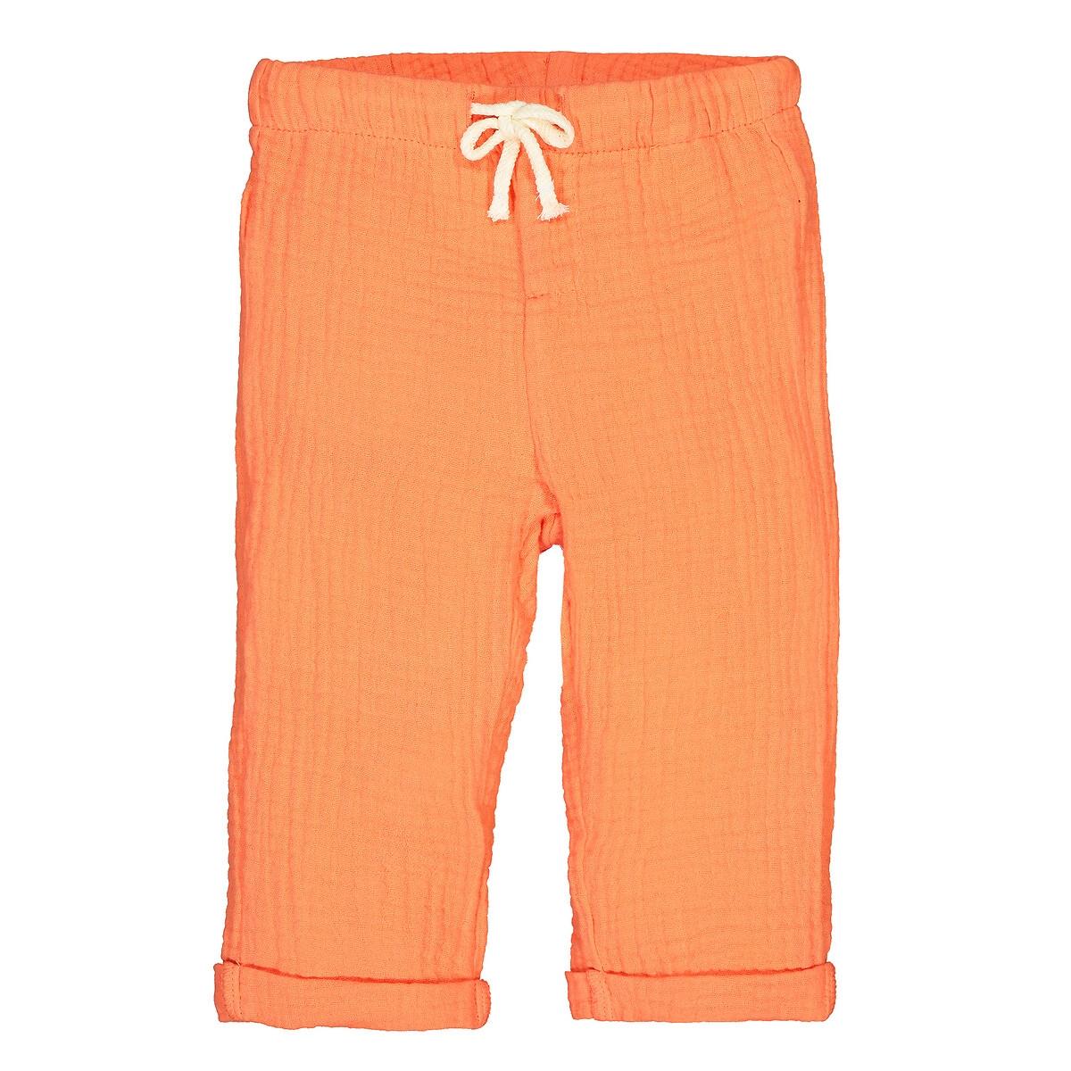 Брюки La Redoute Спортивные из хлопчатобумажной газовой ткани 1 мес-4 лет 6 мес. - 67 см оранжевый