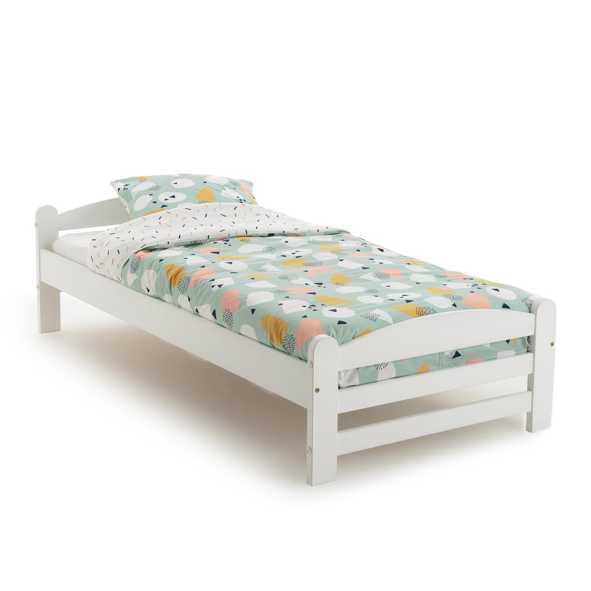 Кровать LaRedoute Из массива сосны с кроватным основанием Loan 90 x 190 см белый