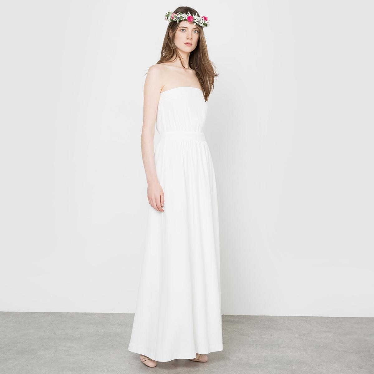 Платье свадебное длинное, форма бюстьеСостав и описание :Материал : 100% полиэстерДлина : 141 см<br><br>Цвет: слоновая кость<br>Размер: 38 (FR) - 44 (RUS).36 (FR) - 42 (RUS)
