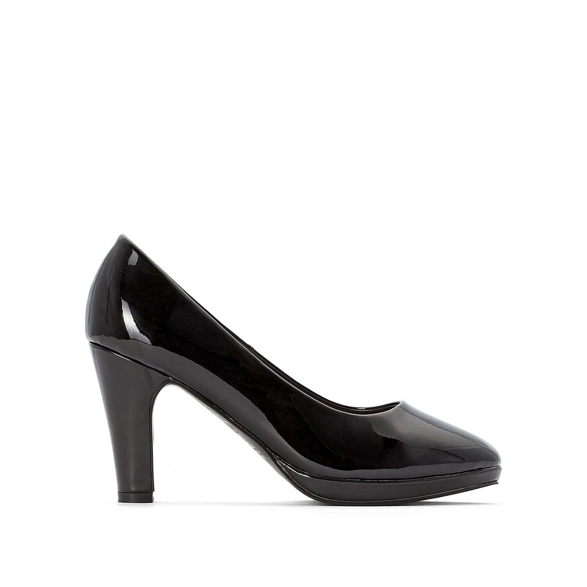 Туфли LaRedoute Лакированные на высоком каблуке 41 черный