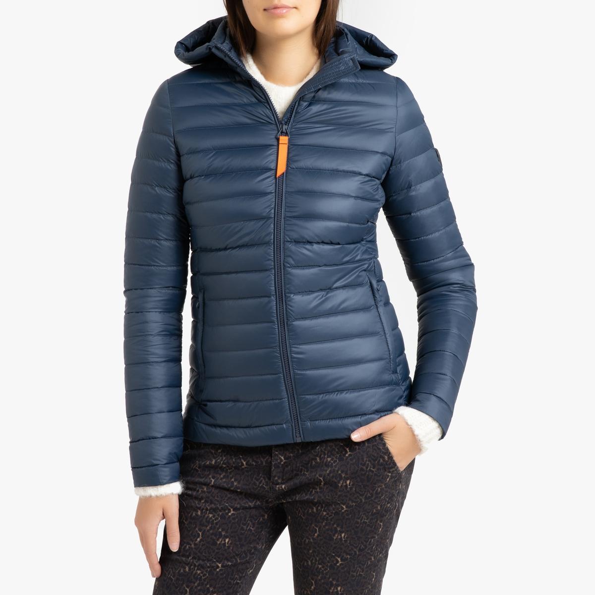 цена Куртка La Redoute Стеганая короткая с капюшоном FRANCINE MAT 4(XL) синий в интернет-магазинах