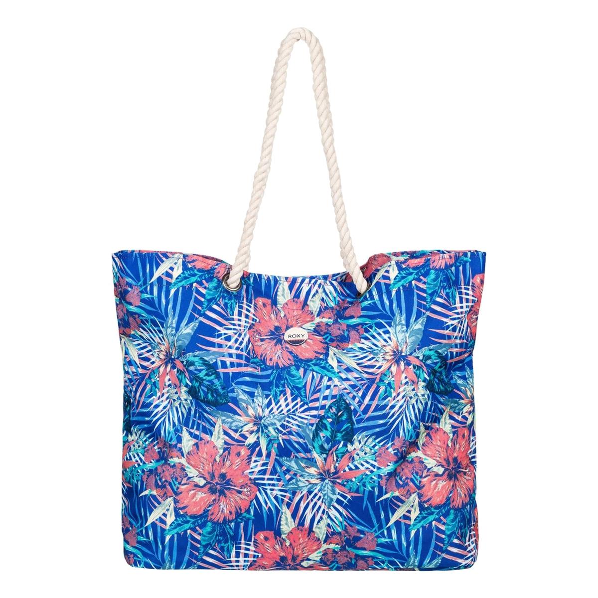 Сумка пляжная, с рисункомПляжная сумка, с тропическим рисунком, Roxy.Рисунок, напоминающий о красивых пляжах и далеких горизонтах, яркая расцветка и практичность : идеальная сумка для отдыха.  Состав и описание :Материал :  полиэстерМарка : ROXYРазмеры  : В.41 x Ш.55 x Г.14 смРучки из мягкой веревки. Нашивка из хлопка с логотипом.Объем : 26 л<br><br>Цвет: синий/ розовый