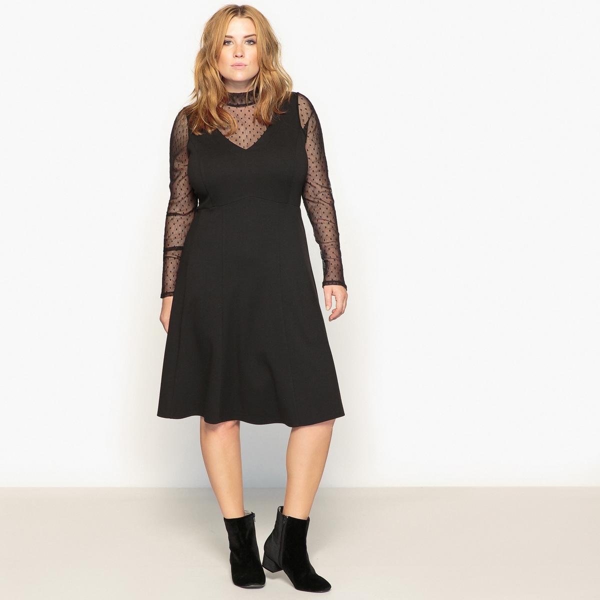 Платье однотонное средней длины, расширяющееся книзуОписание:Невозможно устоять перед этим платьем из двух материалов (плотного трикотажа и тюля с вышивкой гладью) с длинными рукавами. Идеально для вечерних выходов в свет. Детали •  Форма : расклешенная •  Длина до колен •  Длинные рукава    •  Воротник-стойкаСостав и уход •  20% вискозы, 5% эластана, 75% полиэстера  •  Температура стирки при 30° на деликатном режиме  •  Сухая чистка и отбеливание запрещены •  Не использовать барабанную сушку  •  Низкая температура глажки Товар из коллекции больших размеров •  Длина : 104 см<br><br>Цвет: черный<br>Размер: 42 (FR) - 48 (RUS)