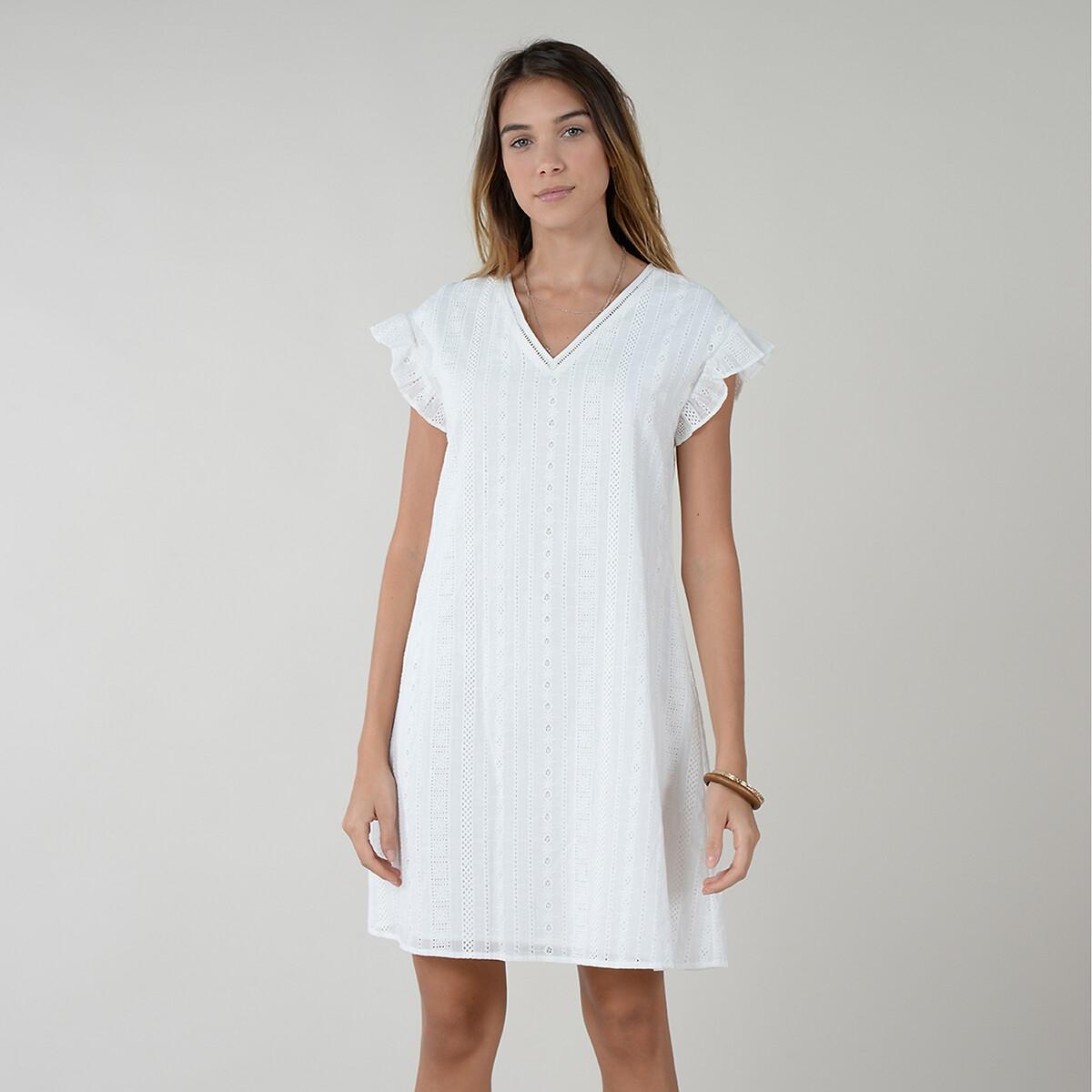 Платье LaRedoute С глубоким V-образным вырезом без рукавов укороченное из хлопка с вышивкой S белый