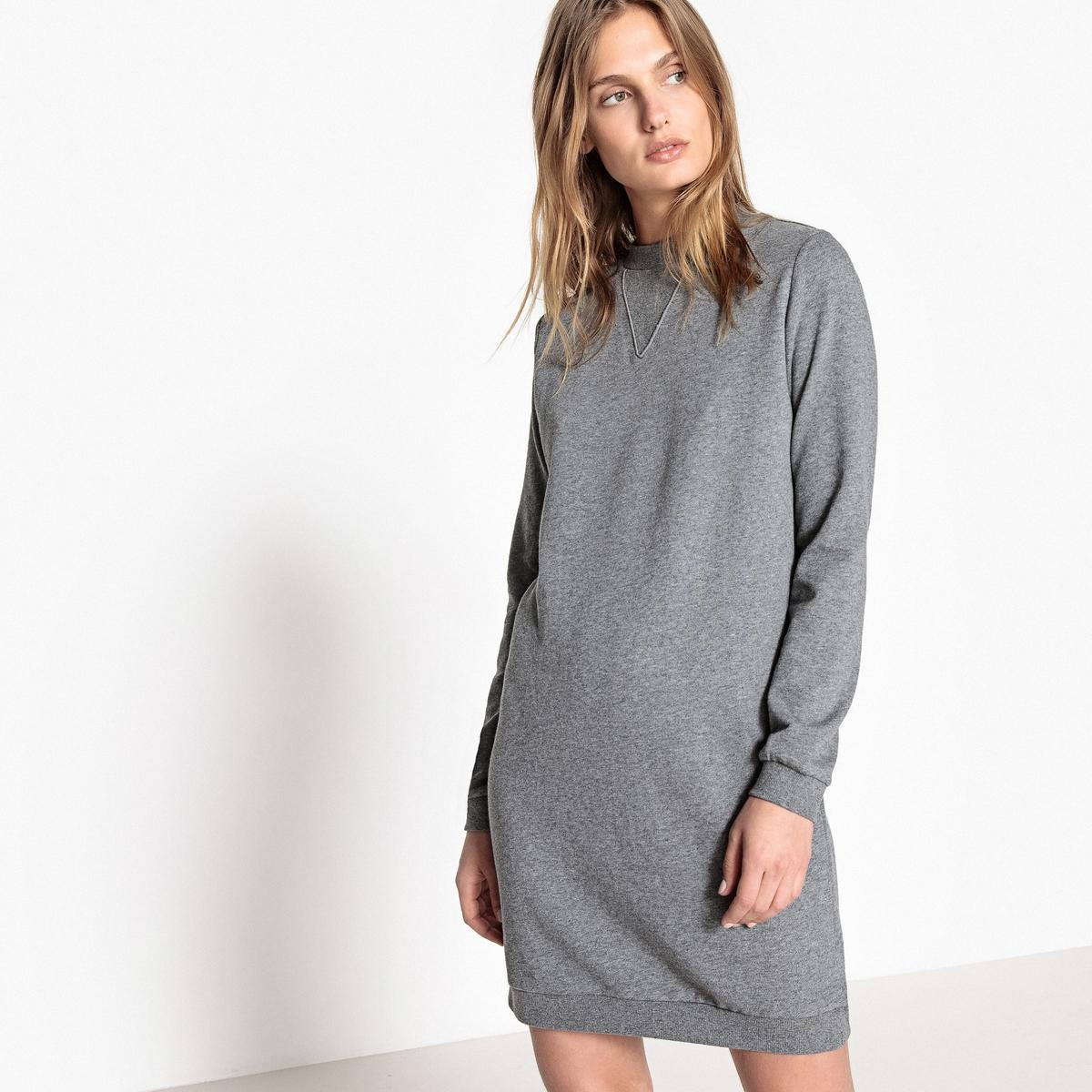 Платье-пуловер короткое однотонное с длинными рукавамиОписание:Детали •  Форма : платье-пуловер •  Укороченная модель •  Длинные рукава    •  Круглый вырезСостав и уход •  100% хлопок •  Температура стирки 30° •  Сухая чистка и отбеливание запрещены •  Не использовать барабанную сушку •  Низкая температура глажки •  Длина  : 90 см<br><br>Цвет: серый меланж<br>Размер: M