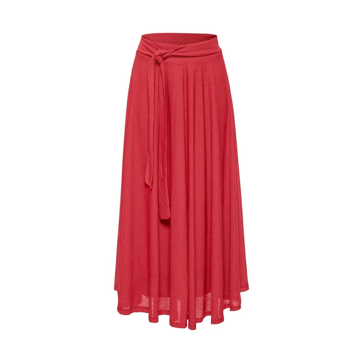 Falda midi vaporosa con cinturón para anudar
