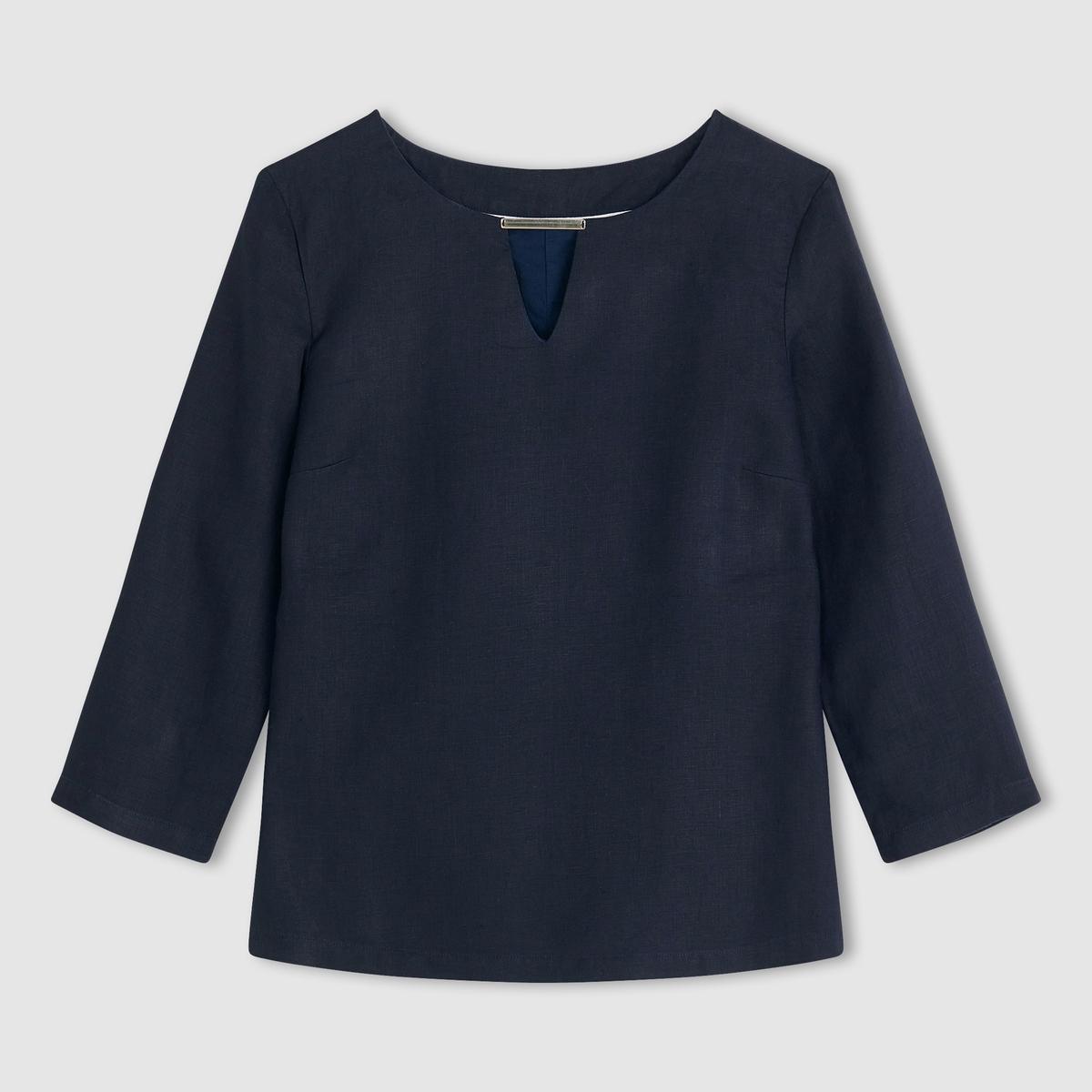 Блузка прямого покроя с рукавами 3/4, 100% льна футболка с украшением 55% льна
