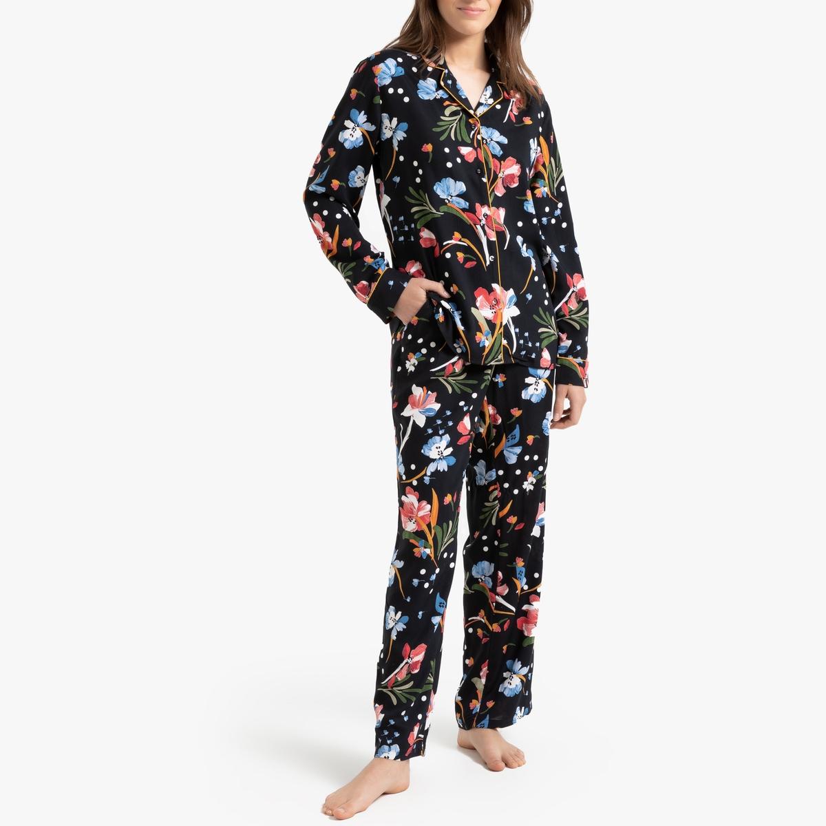 Pijama estampado de flores, de manga larga