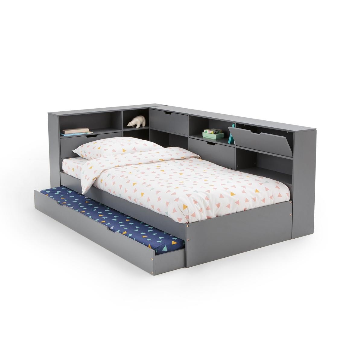 Кровать LaRedoute С ящиком отделениями для вещей и кроватным основанием Yann 90 x 190 см серый