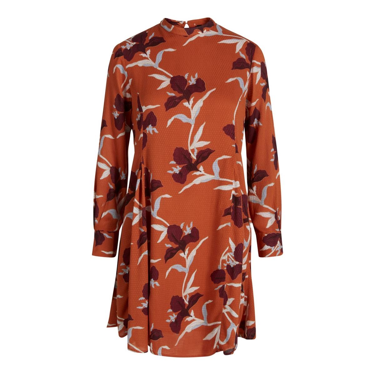Платье расклешенное с круглым вырезом и цветочным рисунком платье расклешенное с длинными рукавами и круглым вырезом