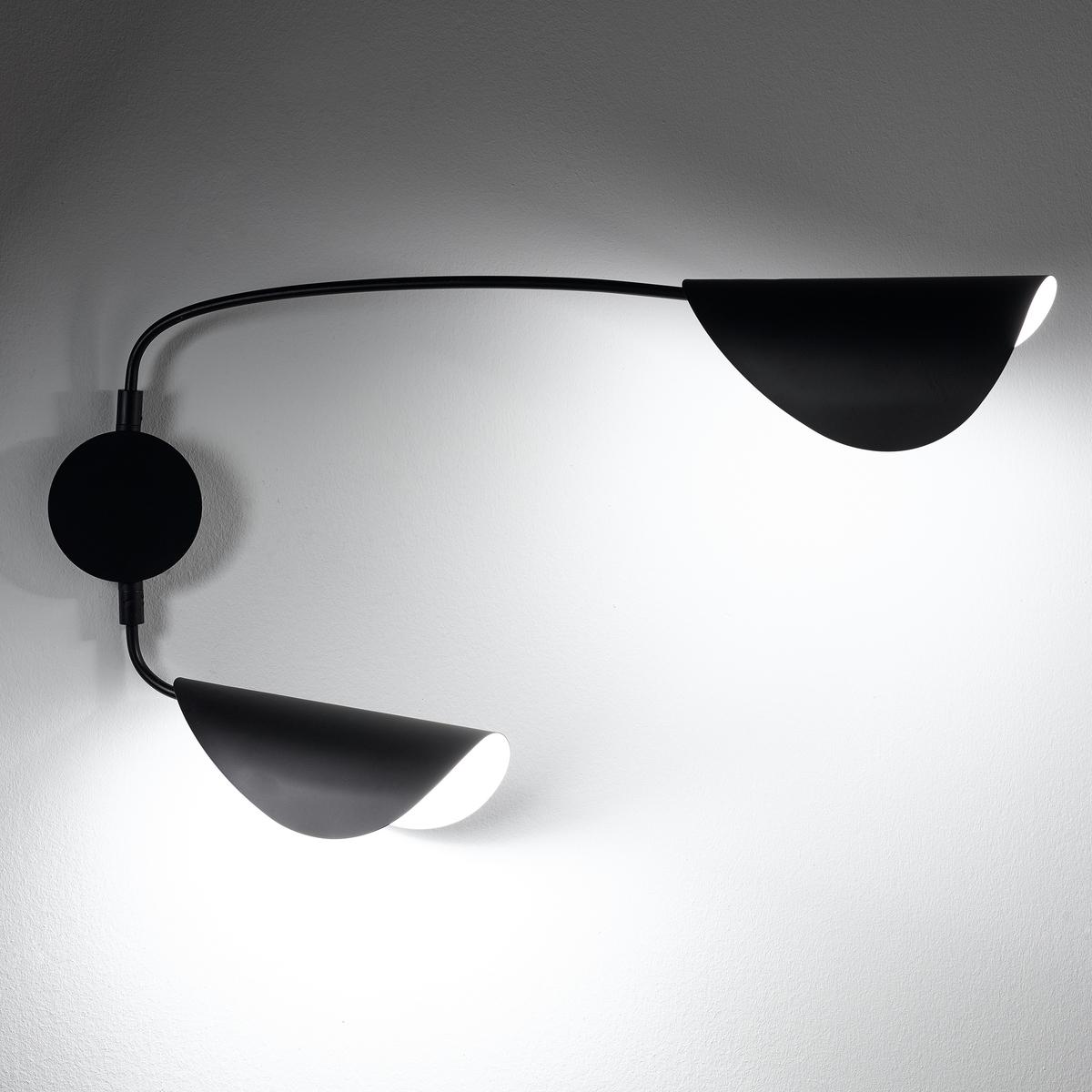 Бра с 2 кронштейнами FunambuleХарактеристики : - Из металла с матовым эпоксидным покрытием- Патрон E14 для флуоресцентной лампы макс. 8 Вт (продается отдельно)- Совместим с лампами класса энергопотребления  A Размеры :- Ш.77 (в нормальном положении) до 102 x В.40 x Г. макс. 70 см.<br><br>Цвет: черный