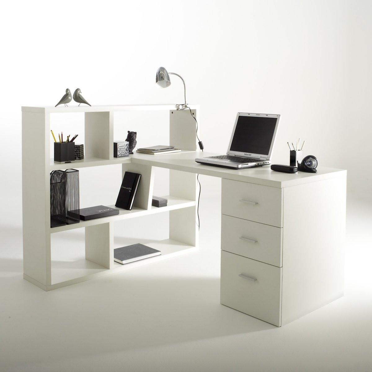 Письменный LaRedoute Стол с книжным шкафом двухсторонним Fnon единый размер белый