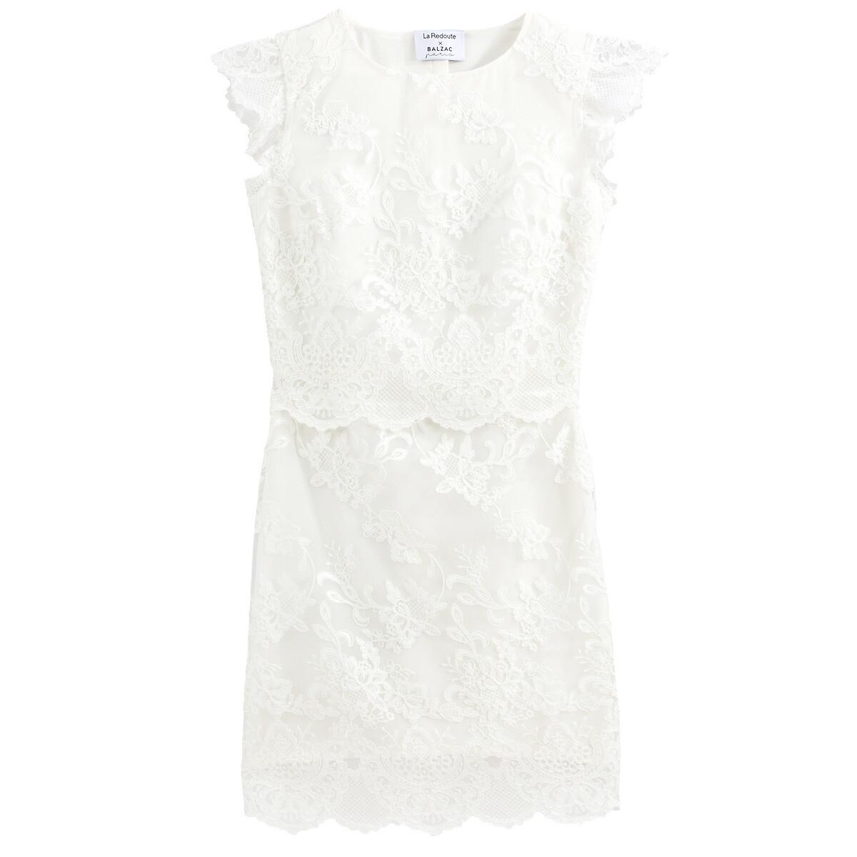 Гипюровое La Redoute Свадебное платье без рукавов 44 (FR) - 50 (RUS) бежевый