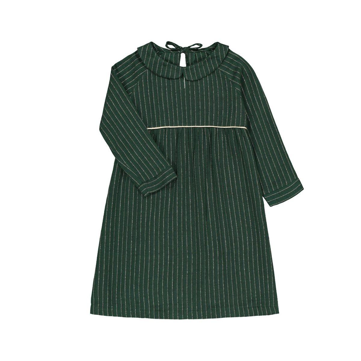 Robe vert sapin rayures Fil textile col claudine