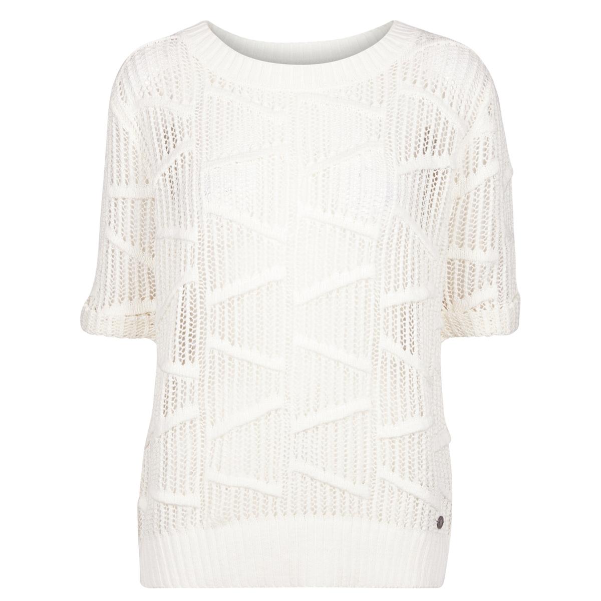 Пуловер из ажурного трикотажа с короткими рукавамиМатериал : 100% хлопок. Длина рукава : Короткие рукава Форма воротника : Круглый вырез Покрой пуловера : СтандартныйРисунок : Однотонная модель  Особенности пуловера : ажурный<br><br>Цвет: экрю
