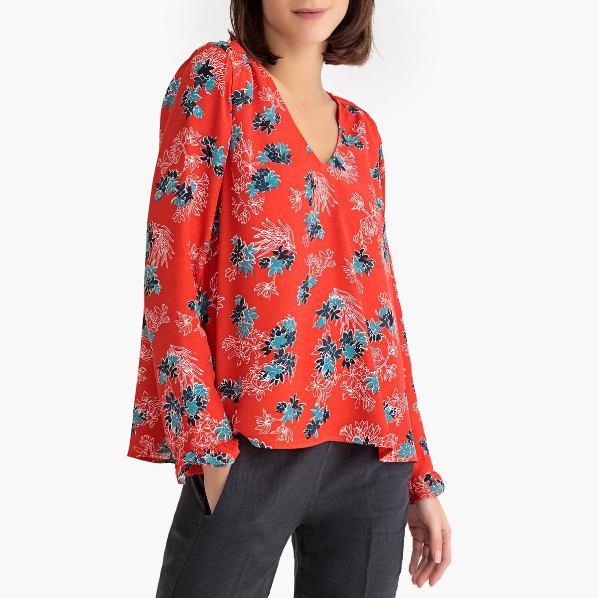 Блузка La Redoute С рисунком MARIA LISIA XS красный цена