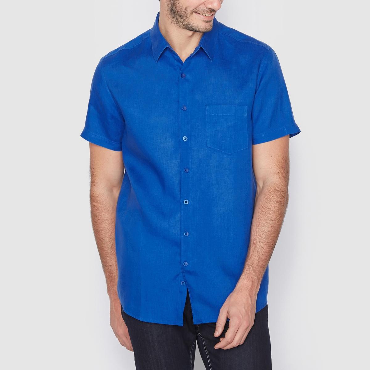 Рубашка прямого покроя с короткими рукавами, 100% ленРубашка, 100% лен. Прямой покрой. Воротник со свободными уголками. Короткие рукава. Длина 77 см.<br><br>Цвет: малиновый,оранжевый меланж,синий<br>Размер: 37/38