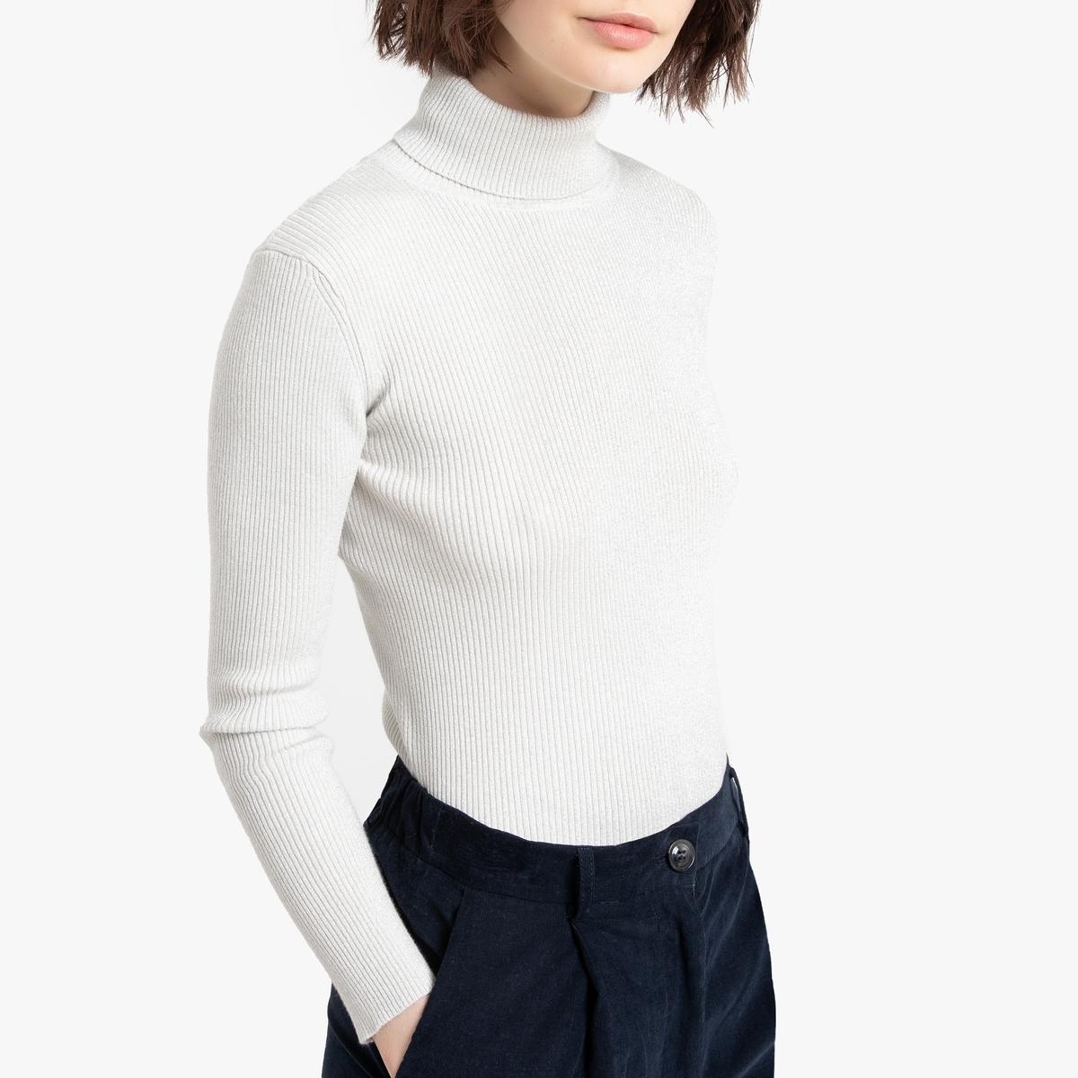 Пуловер La Redoute С воротником-стойкой из рифленого блестящего трикотажа L белый цена и фото