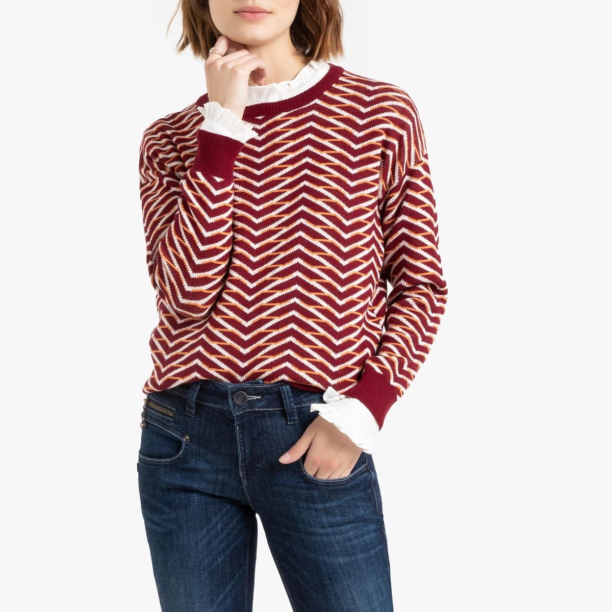 Пуловер La Redoute С графическим рисунком в стиле ретро M красный