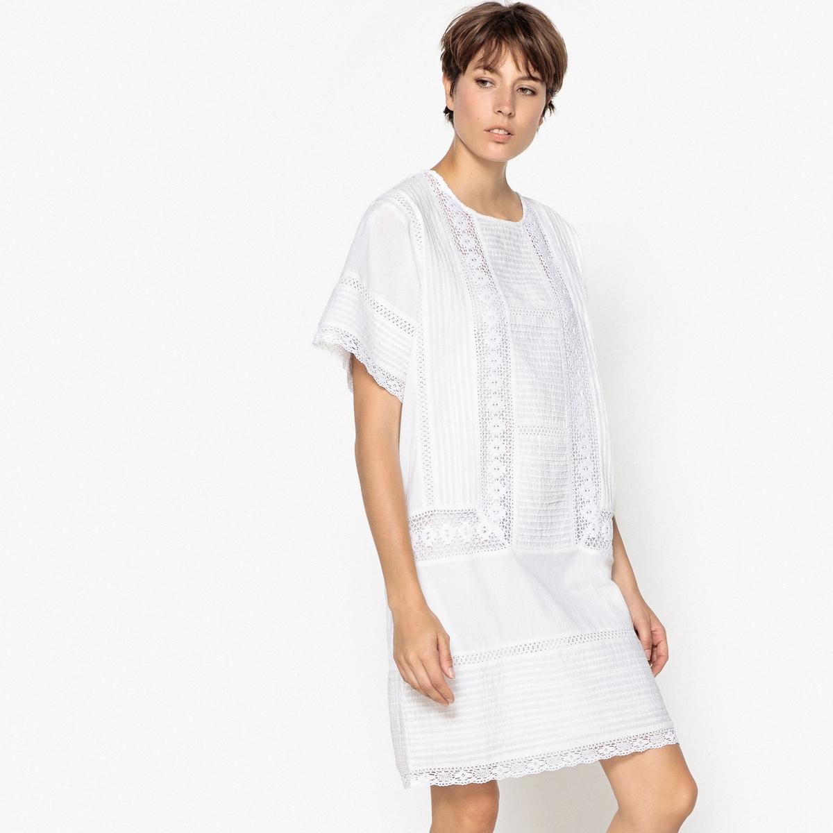 Платье прямое со вставкой из кружева и складками цена