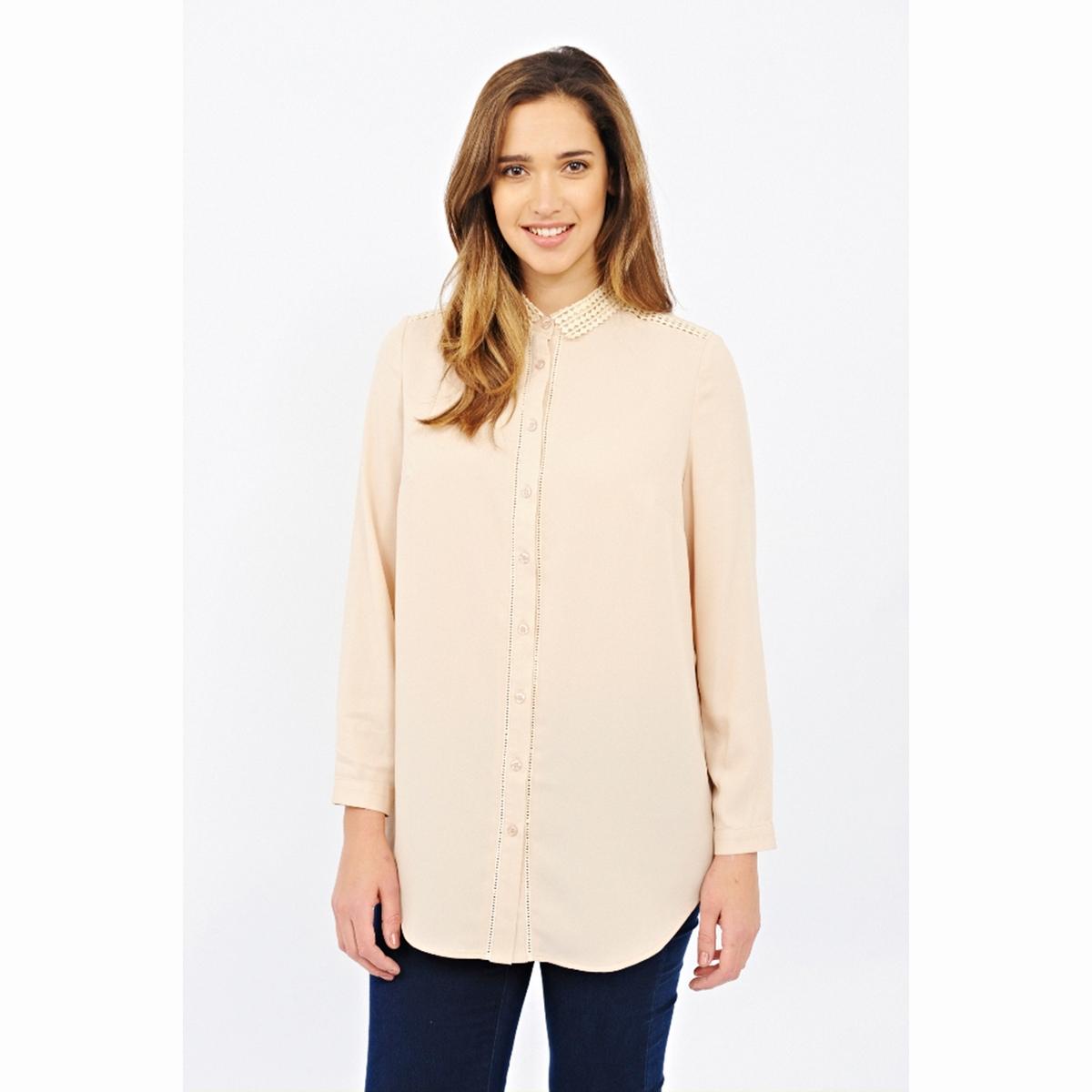 Блузка с длинными рукавамиБлузка с длинными рукавами LOVEDROBE. Красивая блузка с застёжкой на пуговицы по всей длине. Оригинальный рубашечный воротник и вставки на плечах. Длина около 84 см. 100% полиэстера<br><br>Цвет: бежевый