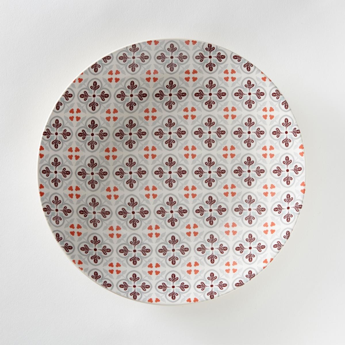 Комплект из 4 мелких тарелок из фаянса, диаметр 26,5 смХарактеристики 4 плоских тарелок с рисунком под цементную плитку  :- Из фаянса, разноцветные.- Диаметр 26,5 см  .- Можно использовать в посудомоечных машинах и микроволновых печах.Десертные тарелки и чашки того же комплекта продаются на сайте laredoute  .ru<br><br>Цвет: набивной рисунок<br>Размер: единый размер