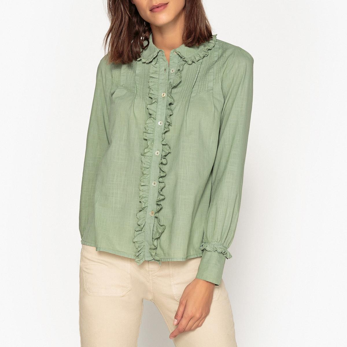 Блузка с воланами и длинными рукавами CLIC блузка в клетку с воланами и длинными рукавами check
