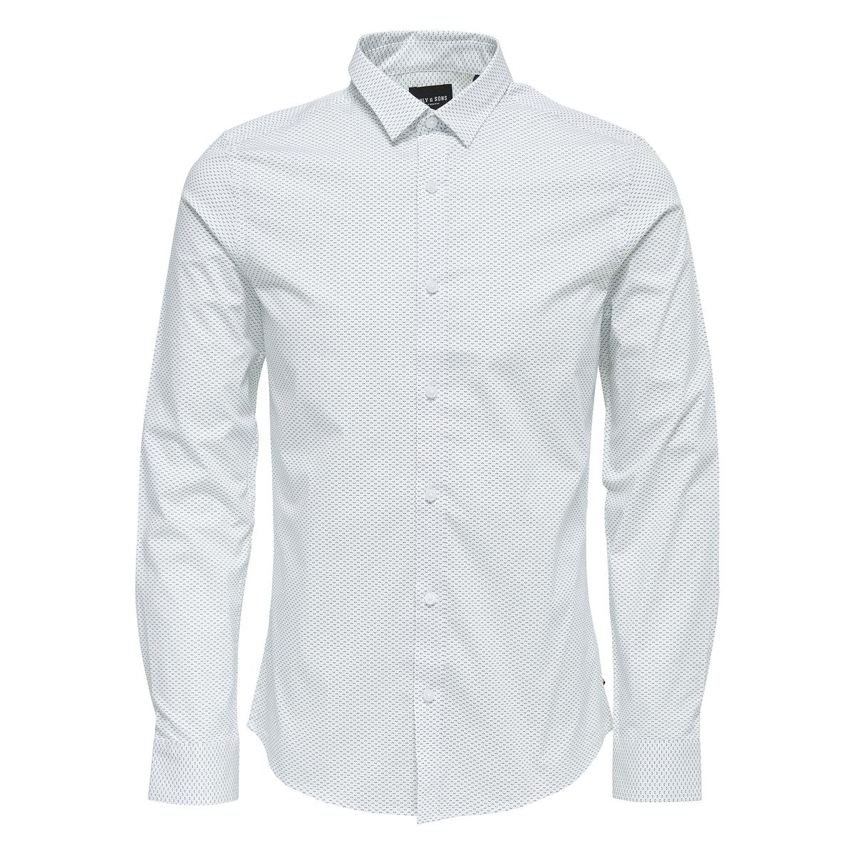 Рубашка с рисунком и длинными рукавамиОписание:Детали •  Длинные рукава •  Приталенный покрой   •  Классический воротникСостав и уход •  97% хлопка, 3% эластана •  Следуйте рекомендациям по уходу, указанным на этикетке изделия<br><br>Цвет: белый,синий морской