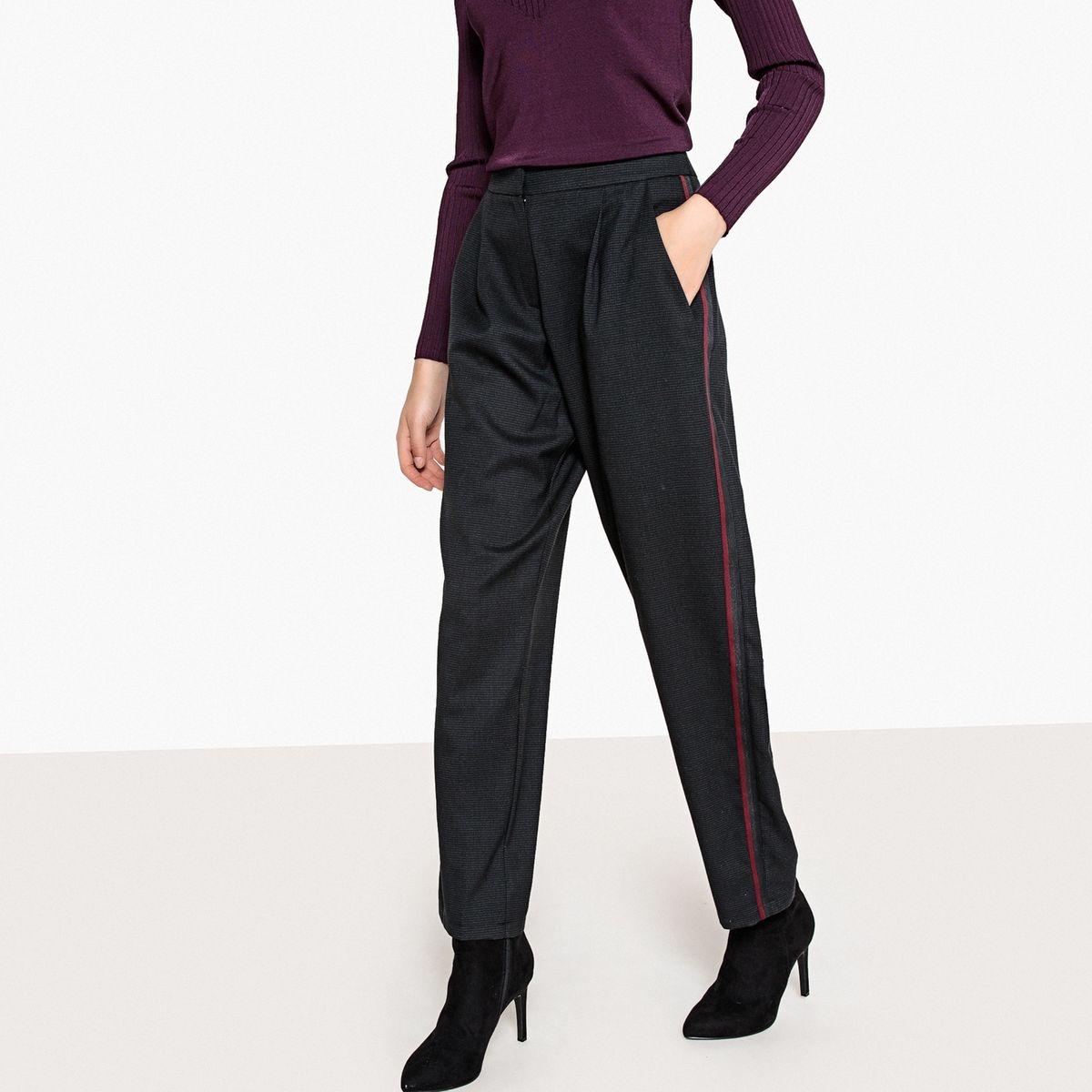 Pantalon large petits carreaux et bandes côté