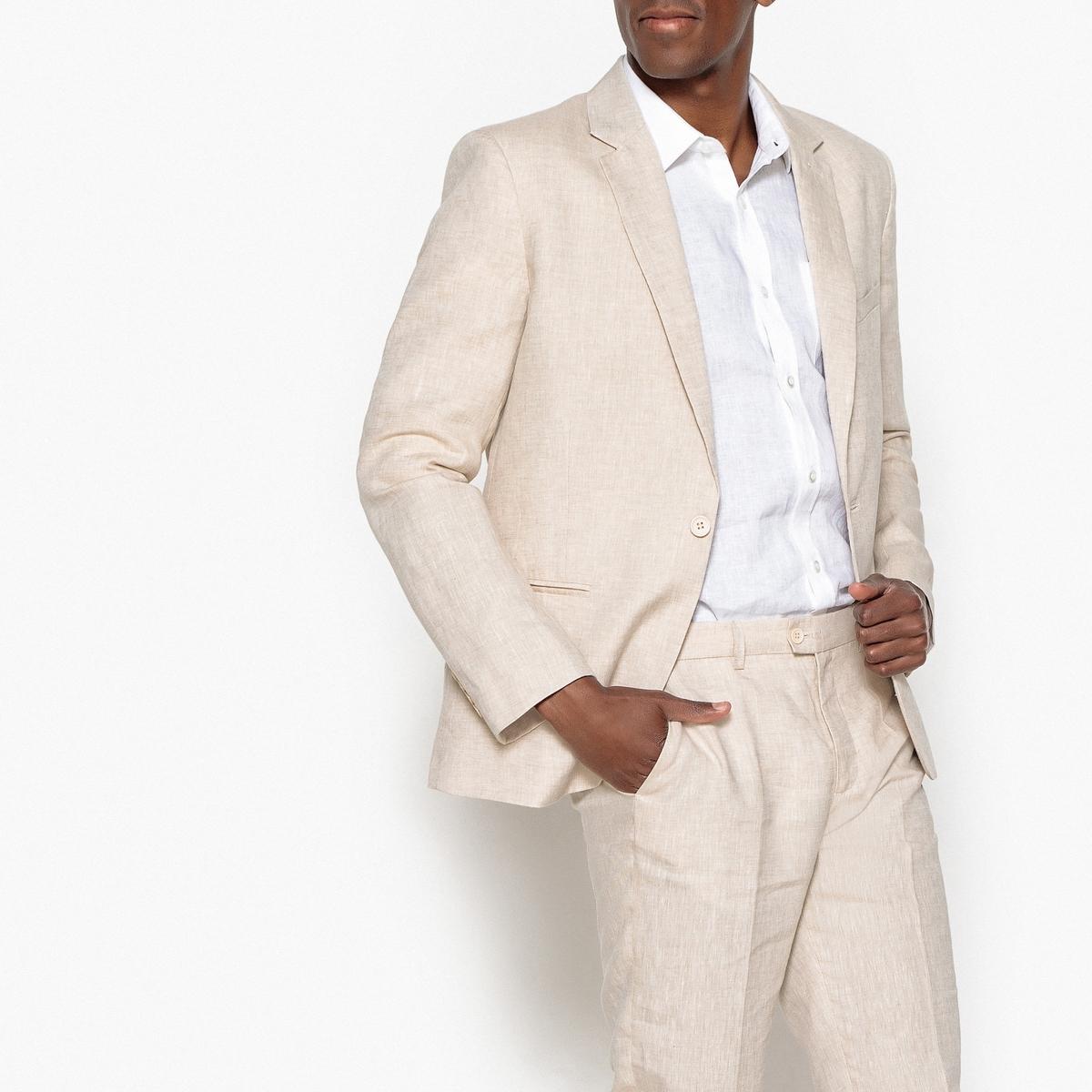 Пиджак костюмный узкий из льна и хлопка