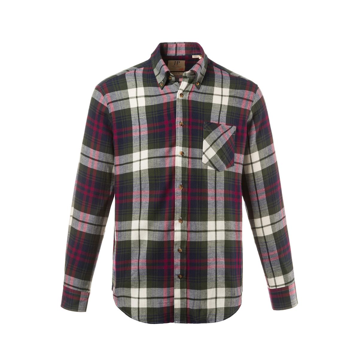 РубашкаРубашка в клетку с длинными рукавами. 100% хлопок.<br><br>Цвет: в клетку<br>Размер: L.7XL.6XL.3XL