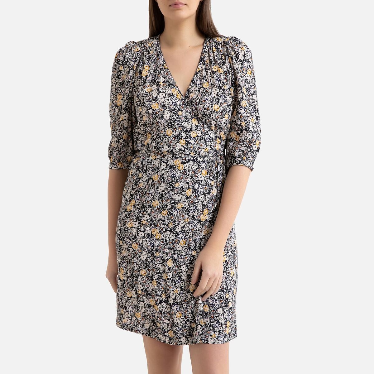Платье La Redoute Короткое с запахом с рисунком ANGELA D S синий d ross короткое платье