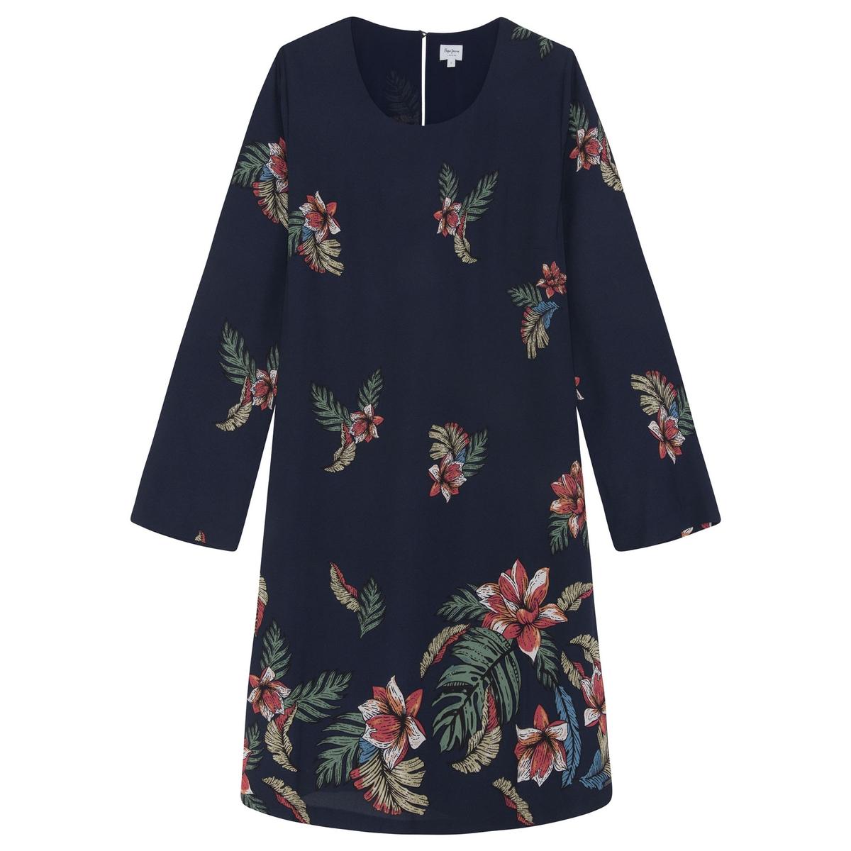 Imagen principal de producto de Vestido estampado de flores, manga larga - Pepe Jeans