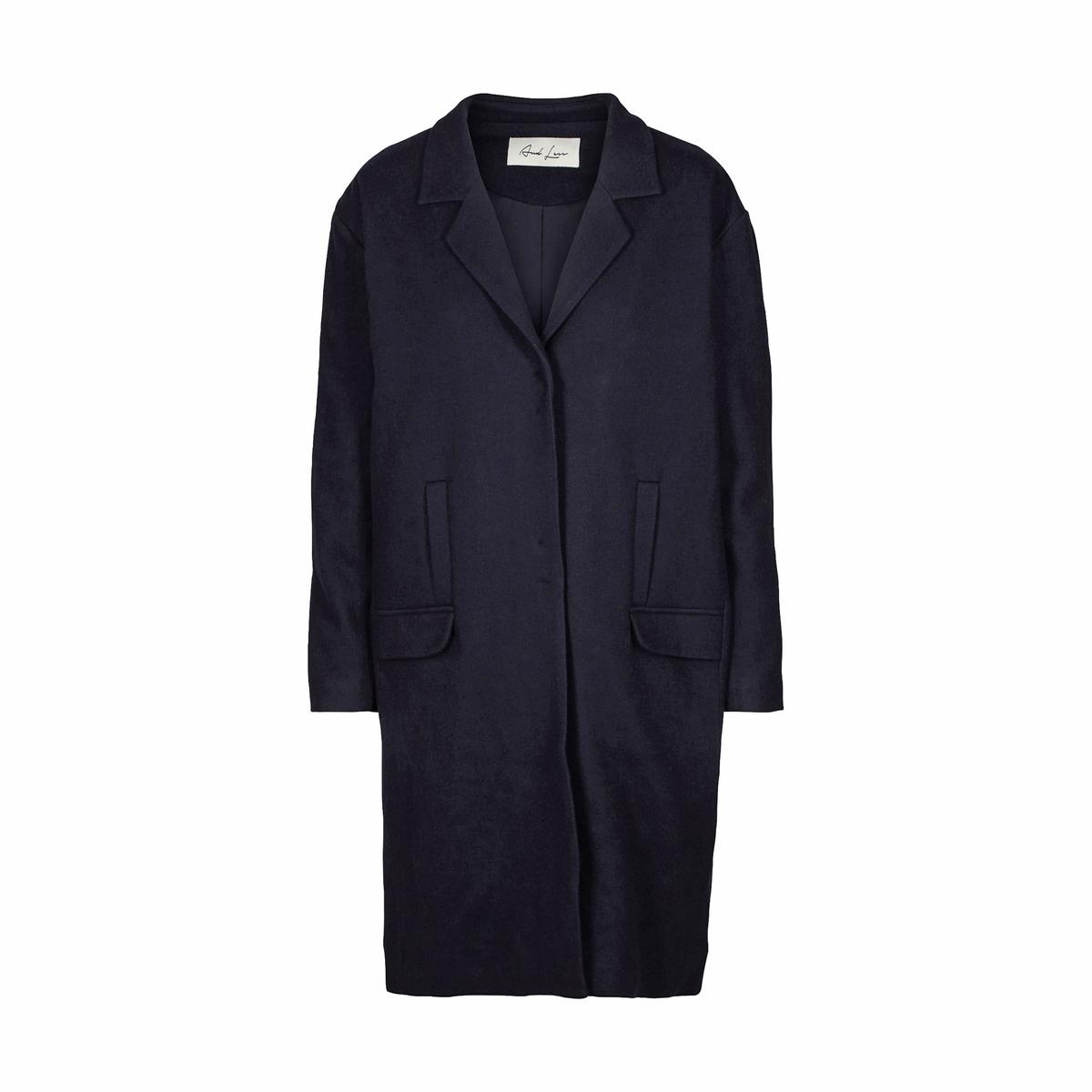 Пальто прямого покроя из шерстяного драпа пальто с капюшоном из шерстяного драпа