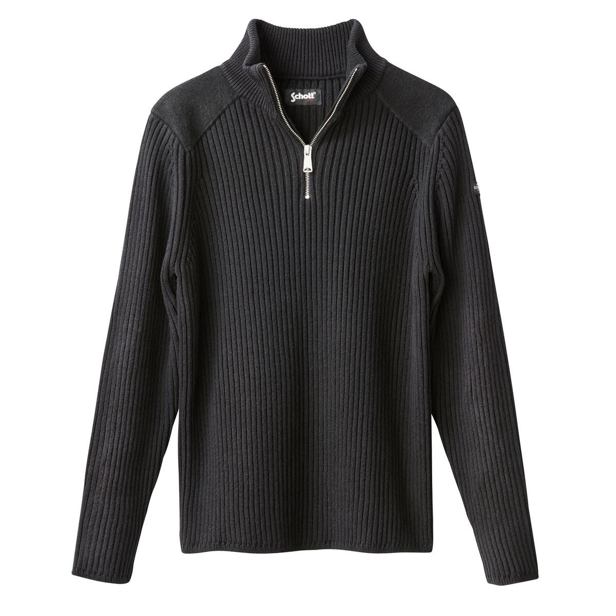 Пуловер классическийДетали •  Длинные рукава  •  Воротник-стойка •  Плотный трикотаж Состав и уход •  50% акрила, 50% хлопка •  Следуйте советам по уходу, указанным на этикетке<br><br>Цвет: синий морской,черный